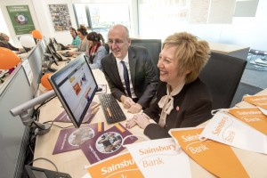 Peter Griffiths, Chief Executive of Sainsbury's Bank, with Cllr Lesley Laird, Depute Leader and Executive Spokesperson Economy and Planning, Fife Council